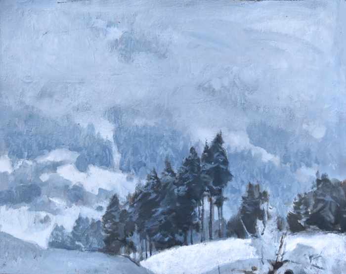 Winter Mists, Oil on canvas glued onto wooden board, 40x50cm